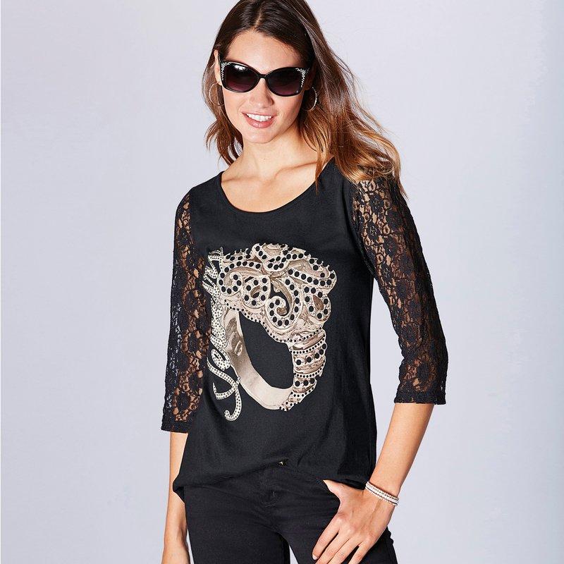 Camiseta de vestir de algodón y encaje con strass