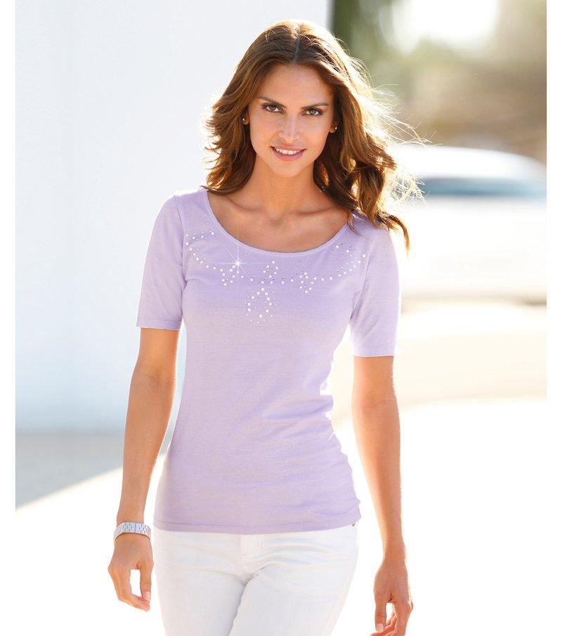 Camiseta mujer manga corta con perlas y strass