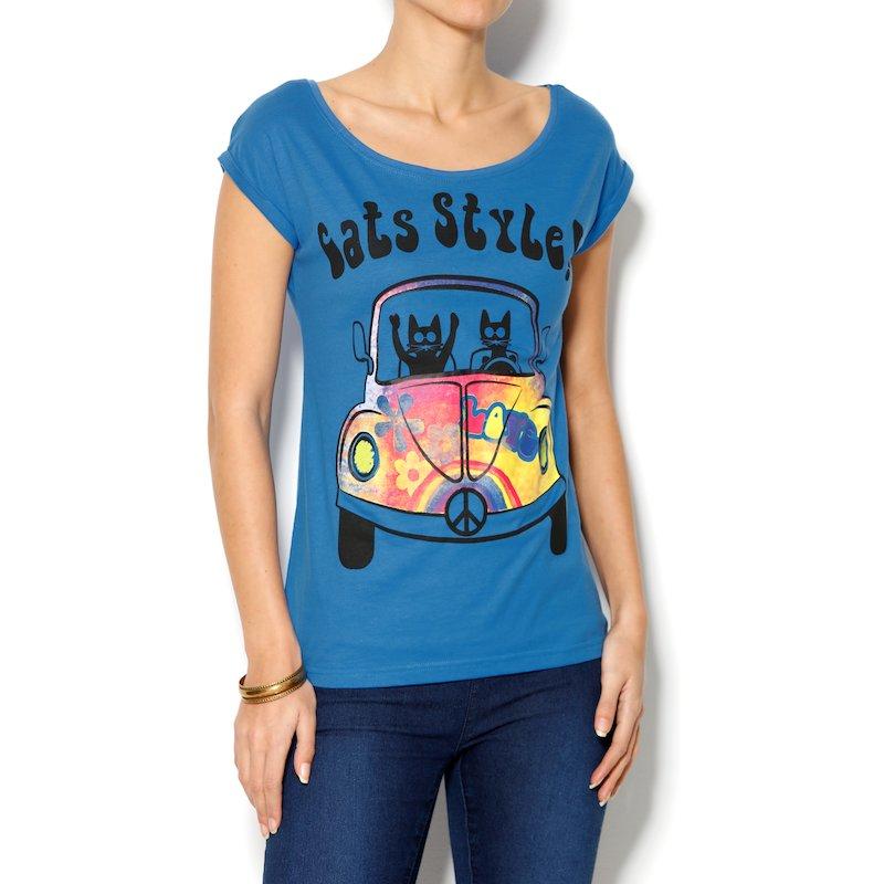 Camiseta de mujer manga corta con estampado hippie