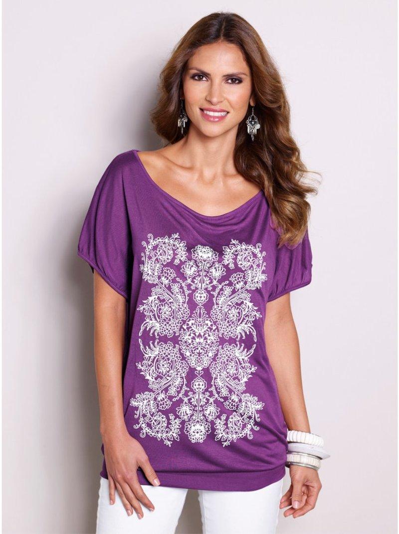 Camiseta mujer estampado engomado - Lila