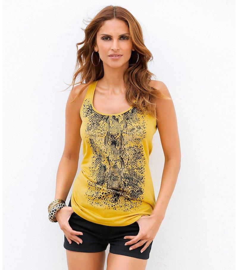 Camiseta mujer sin mangas estampada