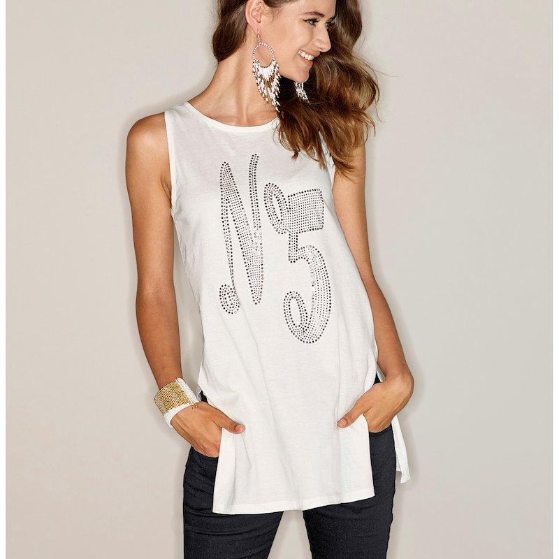 Camiseta larga con aplicaciones Nº 5 sin mangas