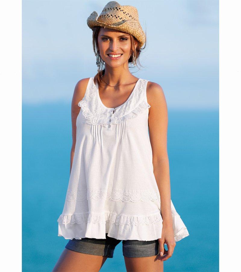 Camiseta mujer sin mangas con bordado y puntilla