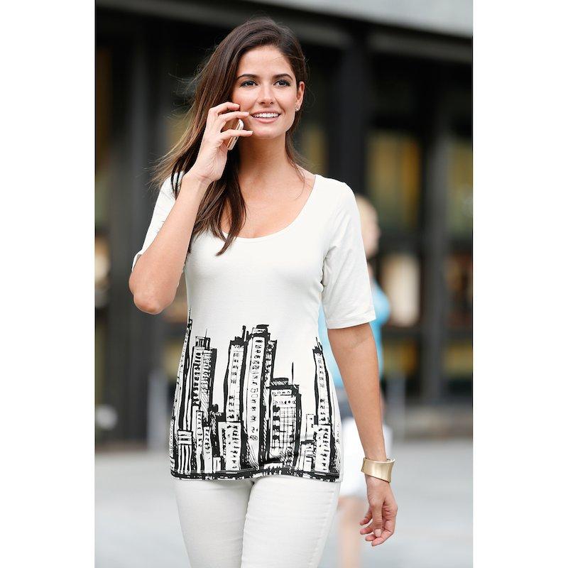 Camiseta manga al codo estampado diseño rascacielos