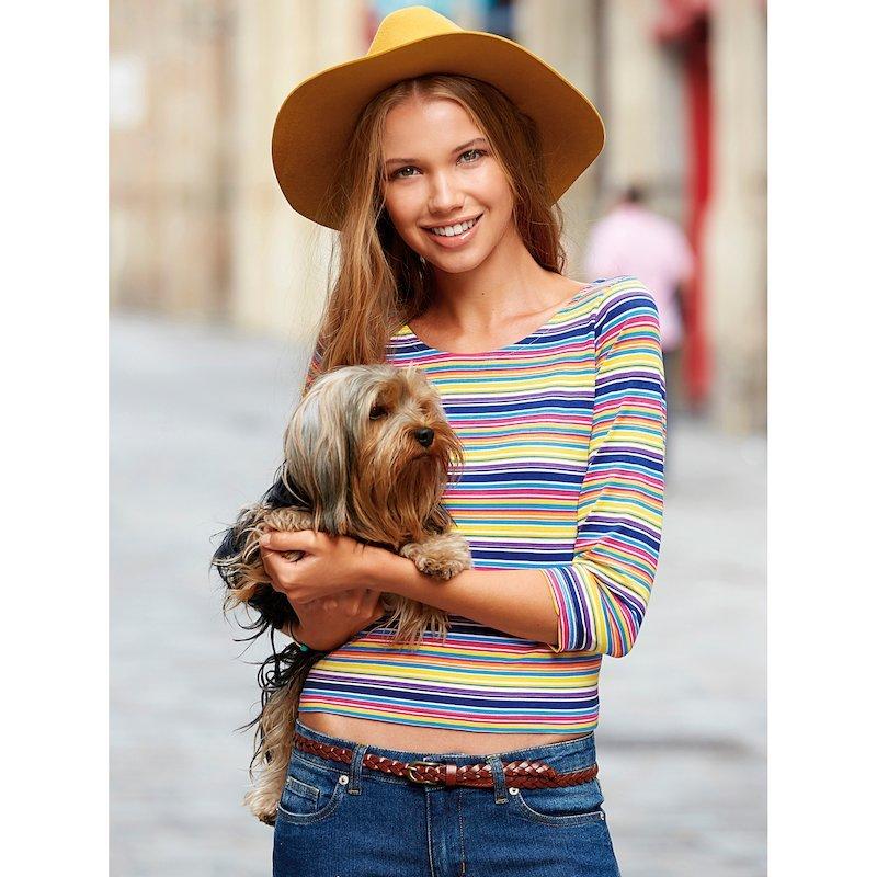 Camiseta de rayas mujer manga 3/4 de algodón - Amarillo