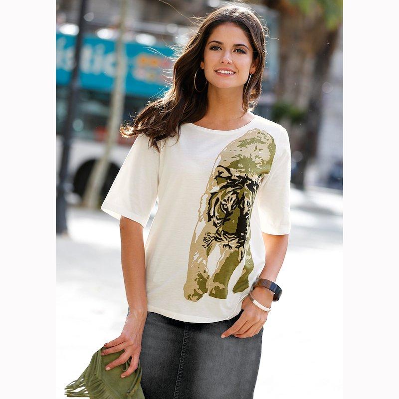 Camiseta mujer de manga corta animal print