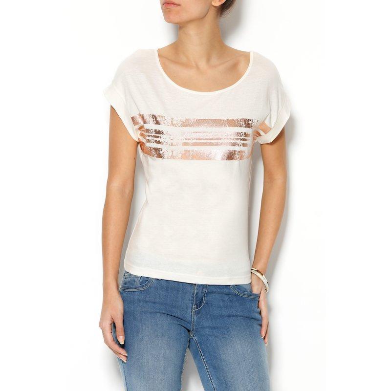 Camiseta mujer manga corta estampado foil metalizado