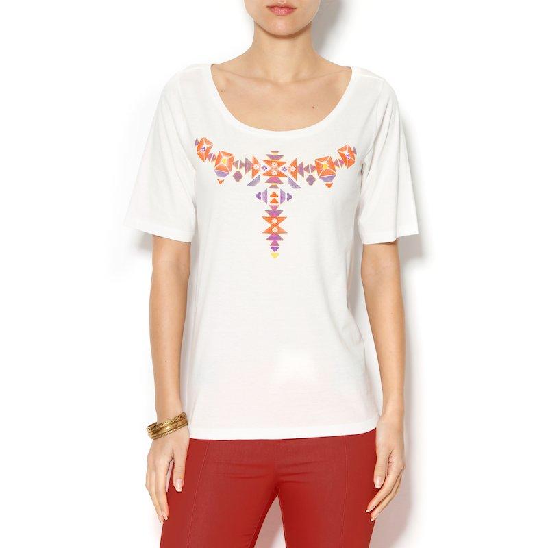 Camiseta en algodon manga corta de inspiración étnica - Crudo