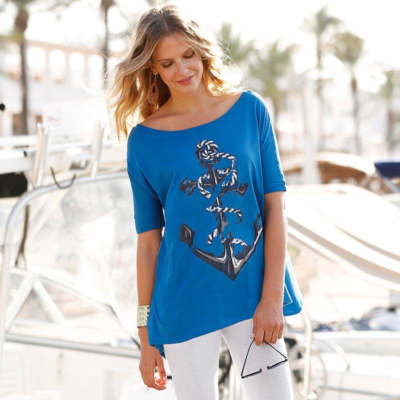 Camiseta mujer con estampado de ancla manga corta