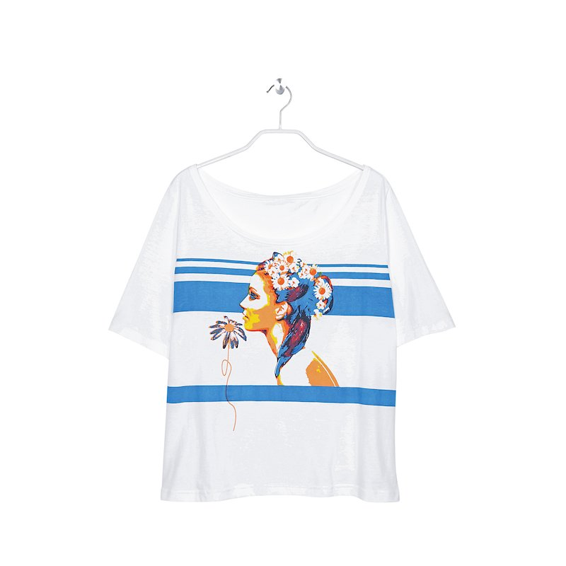 Camiseta manga corta mujer con estampado marinero