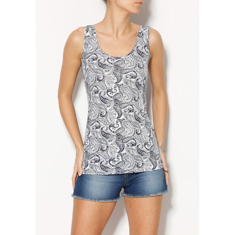 Camiseta de algodón estampada sin mangas
