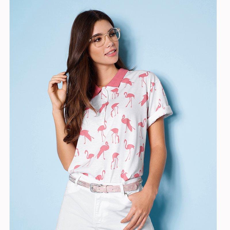 Camiseta polo mujer de manga corta con flamencos - Rosa