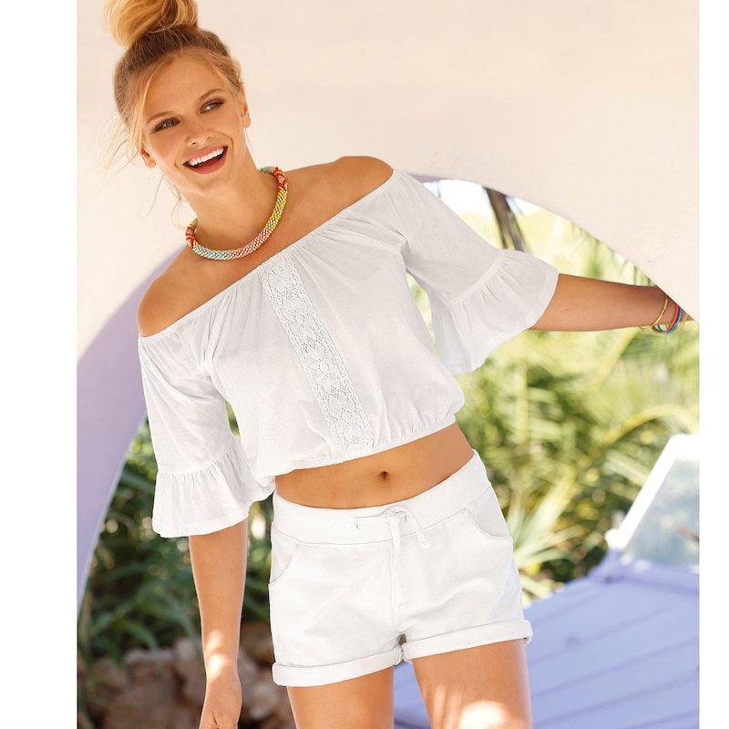 Camiseta corta de escote barco elástico con guipur