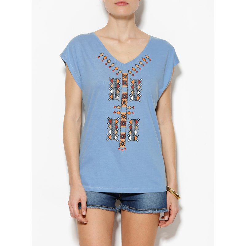 Camiseta mujer de manga corta algodón con tribal