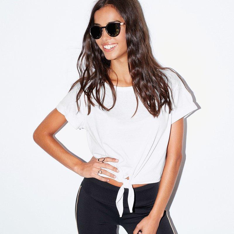 Camiseta de manga corta con vuelta y picos - Blanco