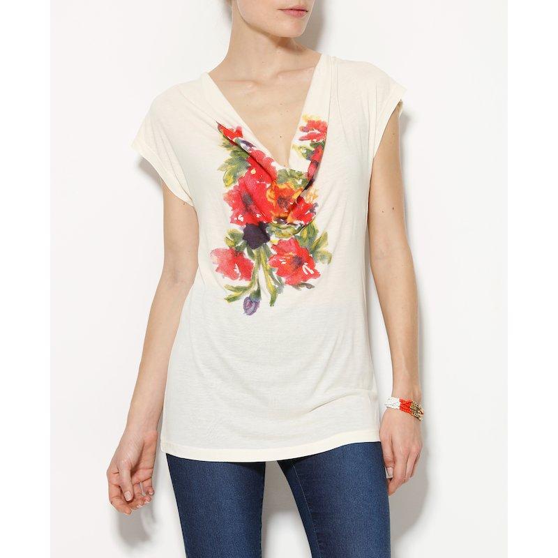 Camiseta mujer manga corta drapeada floral