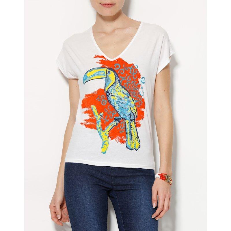 Camiseta mujer manga corta estampado tucán con strass