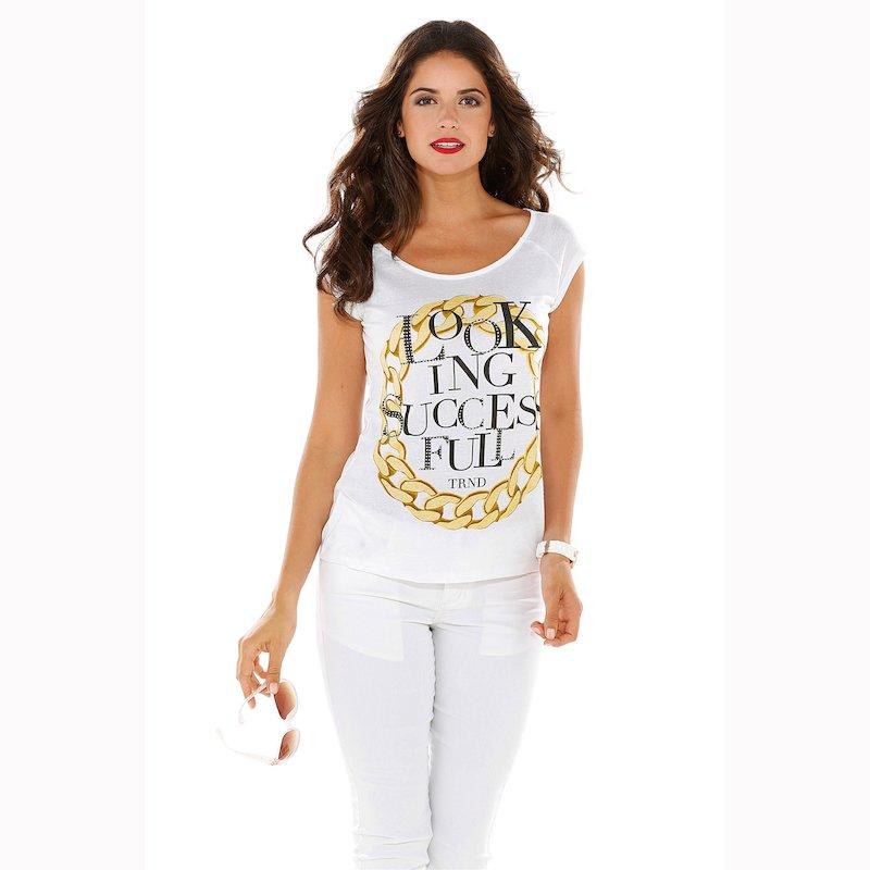 Camiseta con strass y estampado manga corta