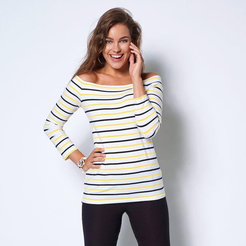 Camiseta de mujer escote barco y manga 3/4 rayas