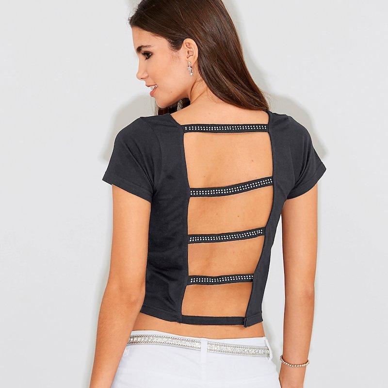 Camiseta de fiesta mujer con strass