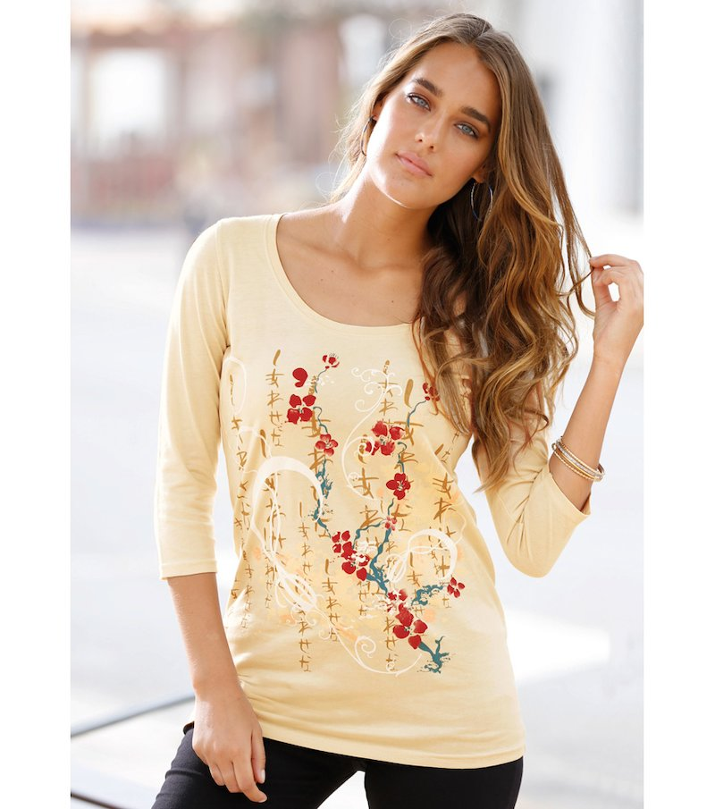 Camiseta mujer manga 3/4 estampado flocado