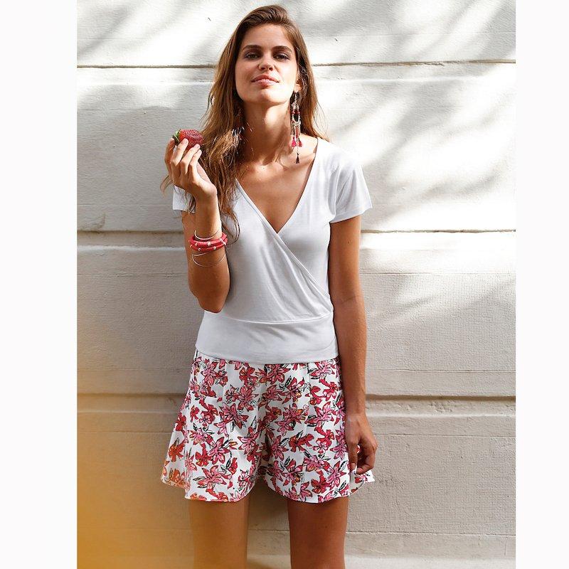 Camiseta mujer manga corta escote cruzado viscosa