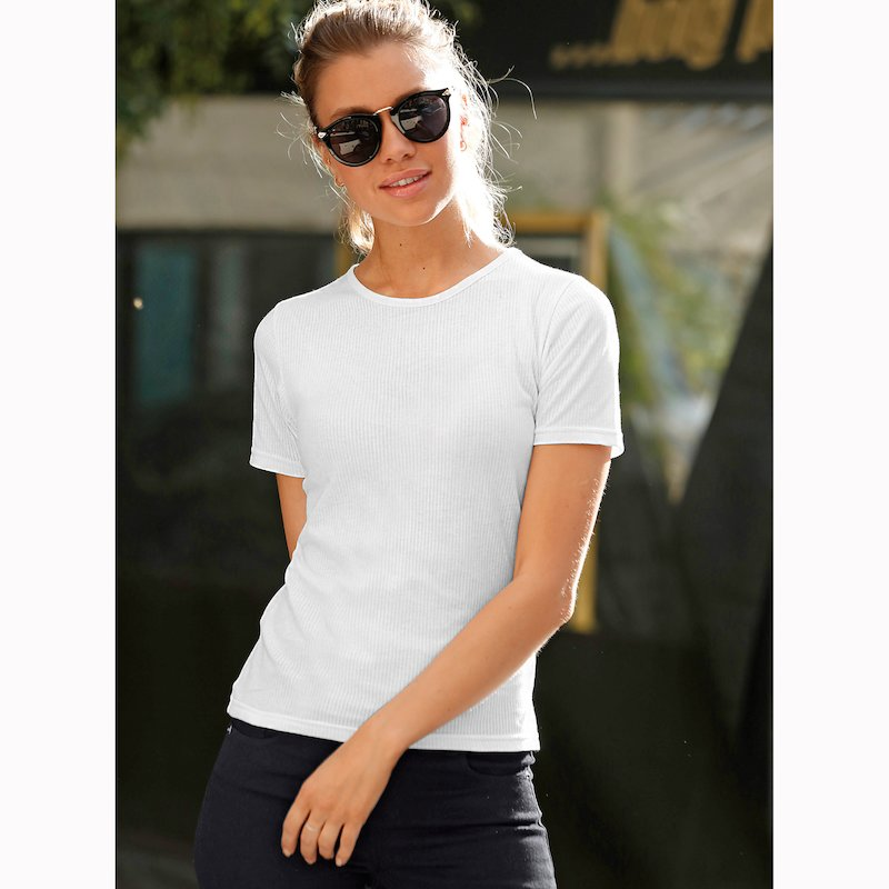 Camiseta mujer manga corta en canalé de algodón