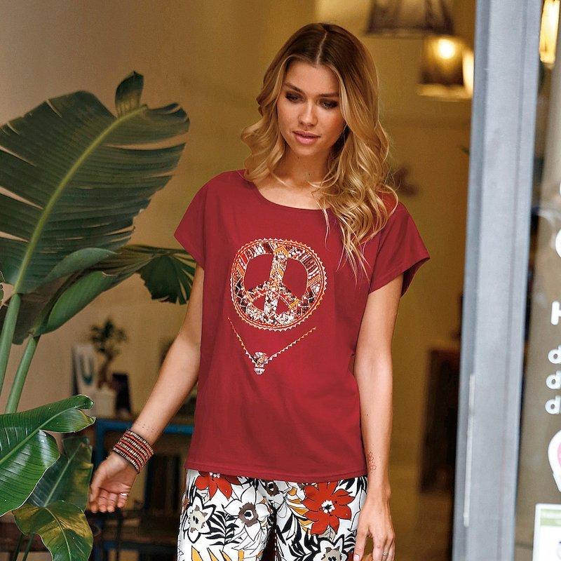 Camiseta hippie mujer con lentejuelas de algodón