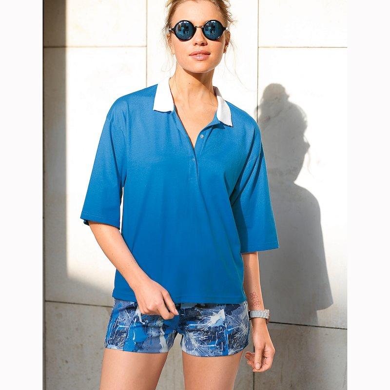 Camiseta polo mujer manga corta algodón cuello