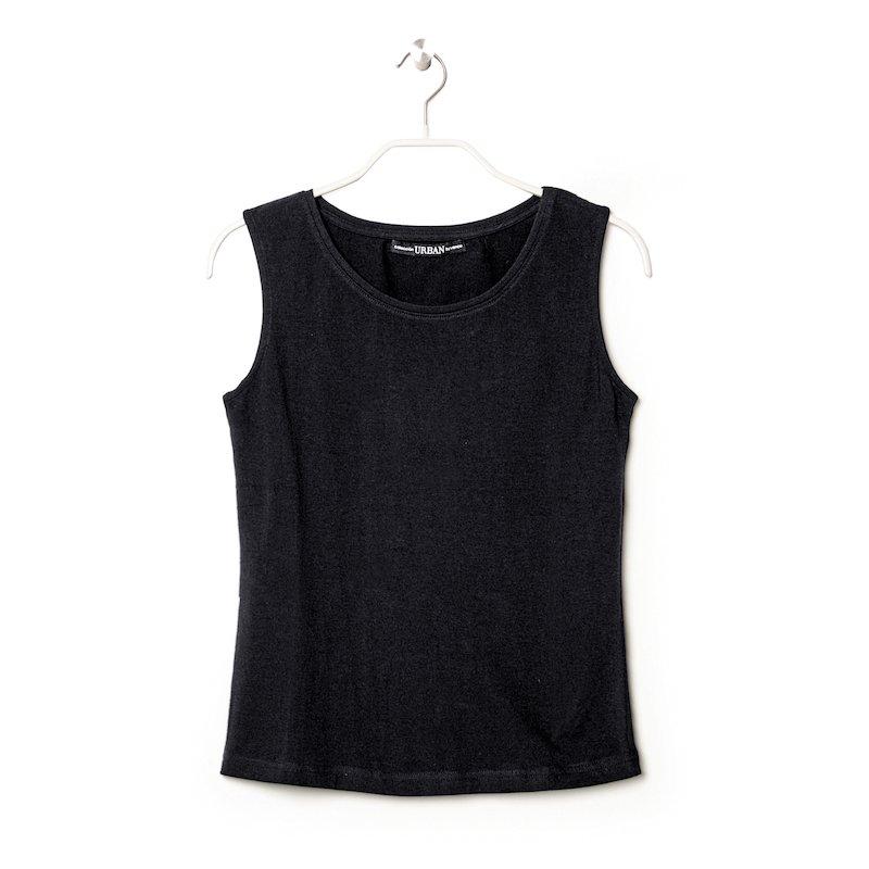 Camiseta de mujer sin mangas en algodón elástico - Negro