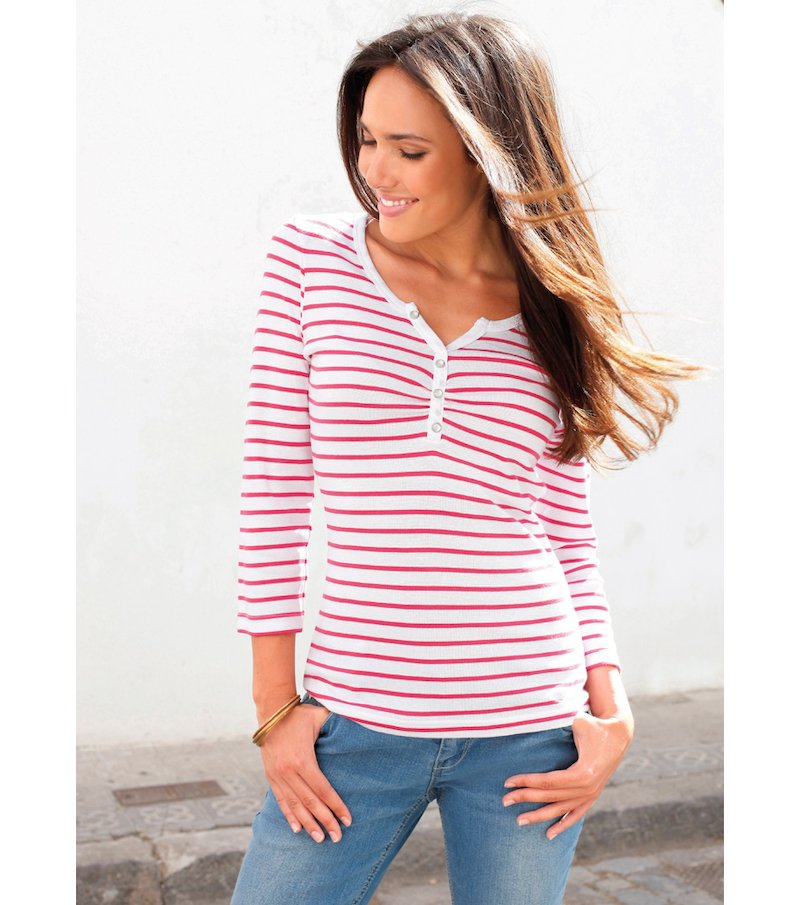 Camiseta mujer manga 3/4 con tapeta rayas