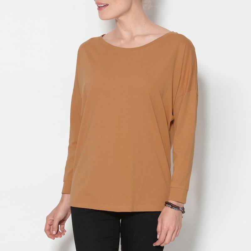 Camiseta lisa con manga larga murciélago de algodón