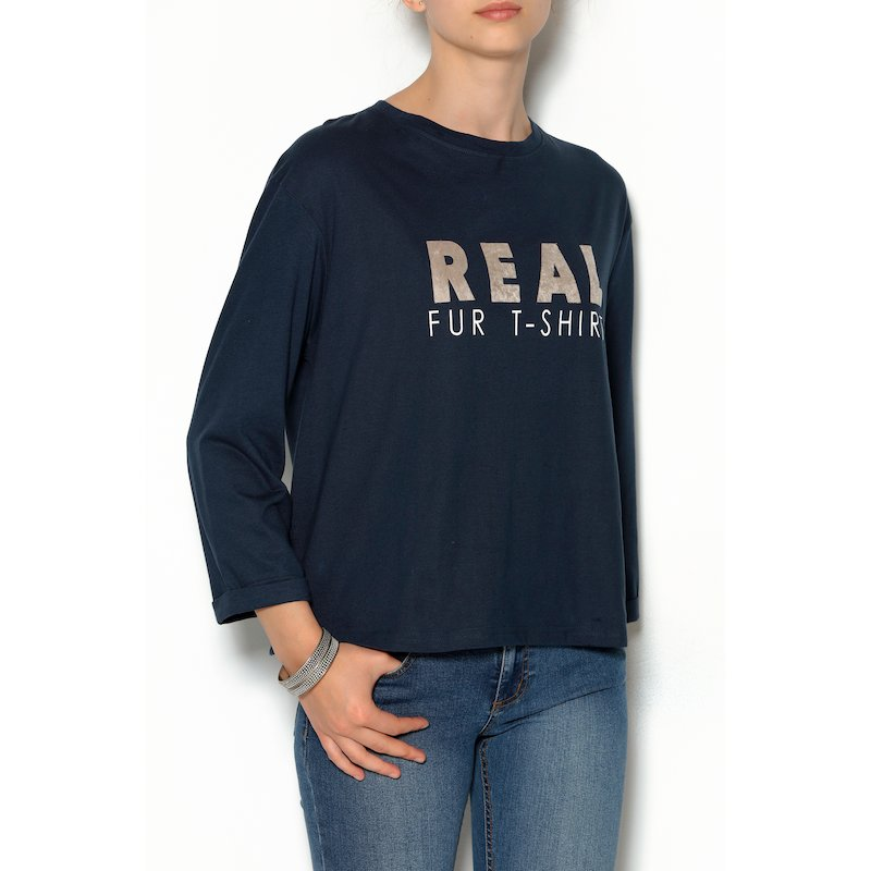 Camiseta manga larga en punto con estampado