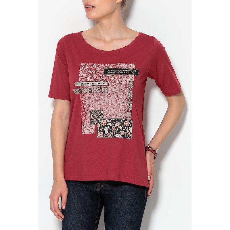 Camiseta mujer de manga corta con estampado y lema