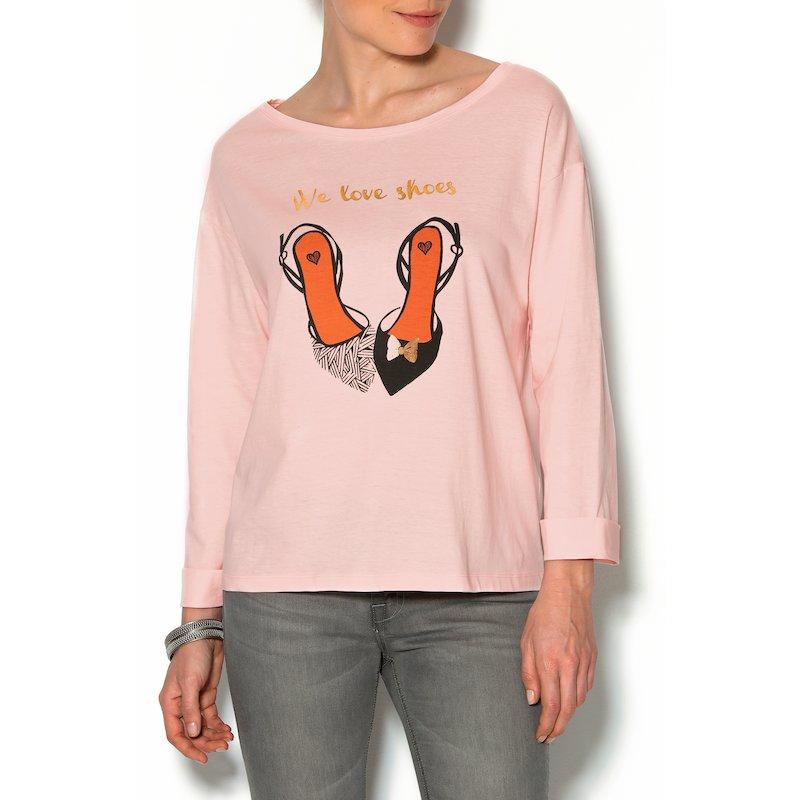 Camiseta mujer manga larga estampado frontal