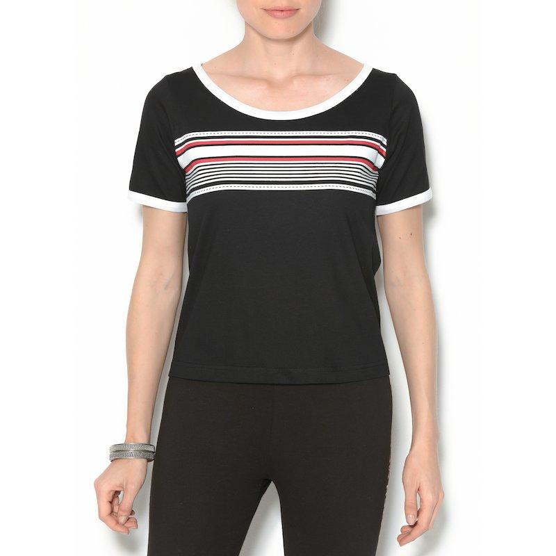 Camiseta mujer con rayas estampadas manga corta