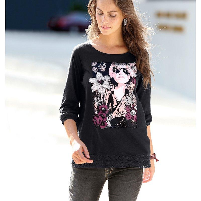 Camiseta estampada mujer con puntilla a tono