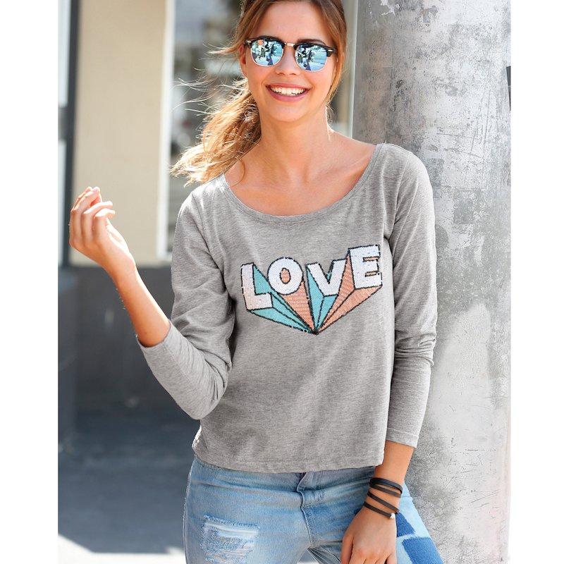 Camiseta mujer de manga larga en algodón LOVE