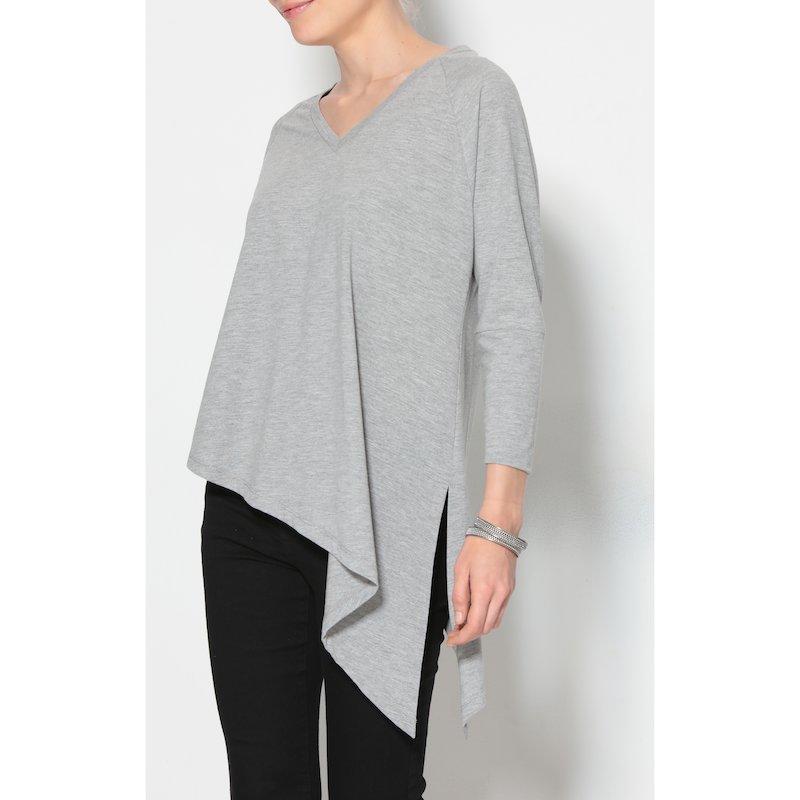 Camiseta mujer manga larga con pico lateral