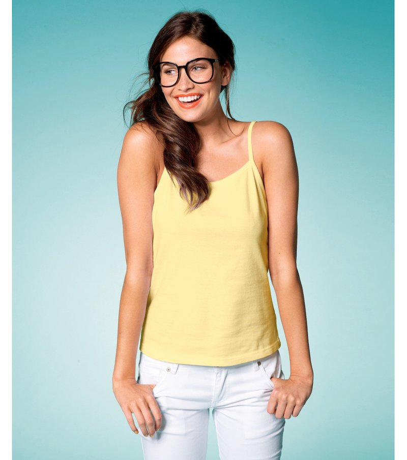 Camiseta top mujer de tirantes punto elástico - Amarillo