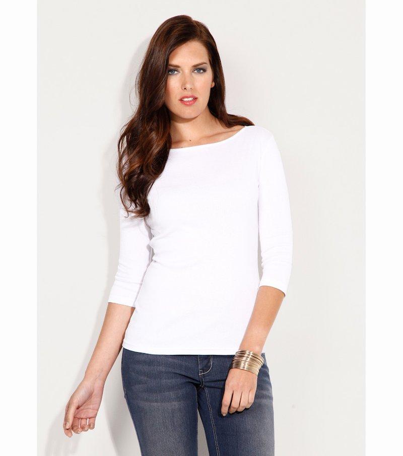 Camiseta mujer manga 3/4 escote barco - Blanco