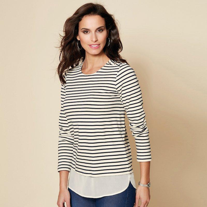 Camiseta marinera de mujer con efecto doble y botones