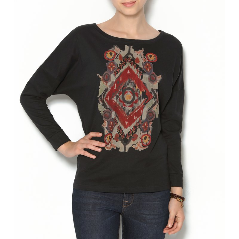 Camiseta mujer murciélago estampado étnico frontal