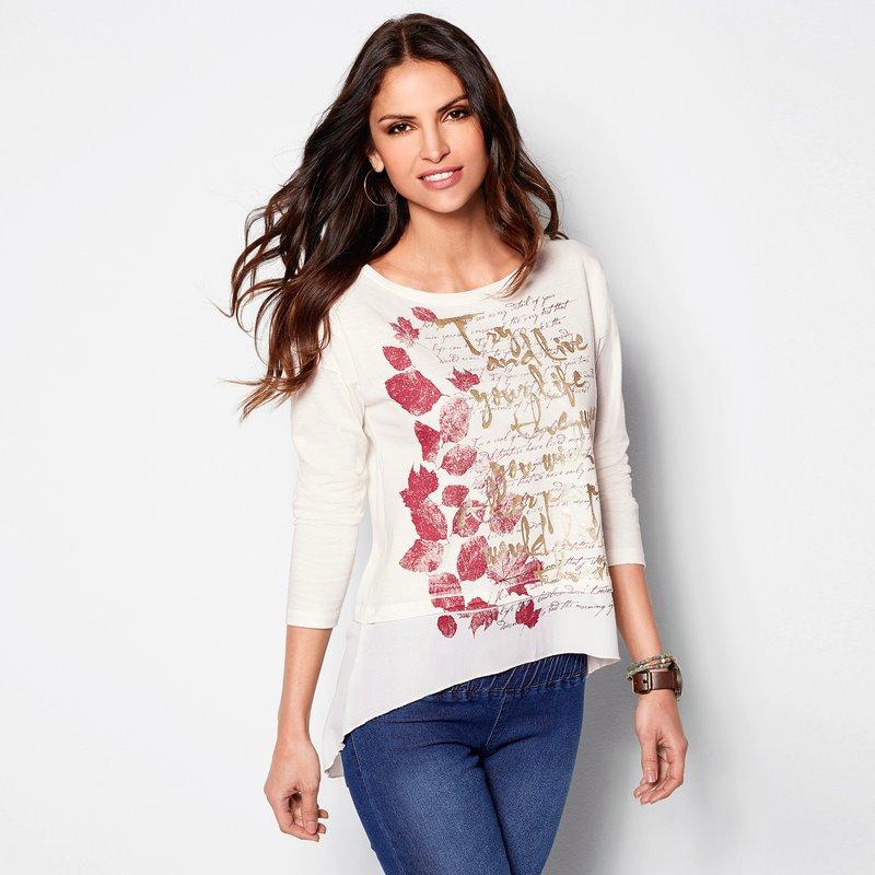 Camiseta estampada de mujer con bajo efecto camisa