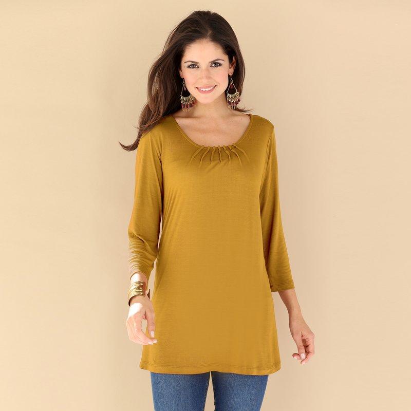 Camiseta mujer con jaretas escote de punto viscosa