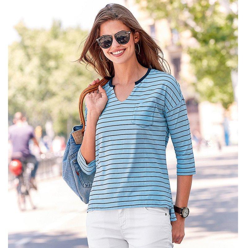 Camiseta mujer manga 3/4 rayas con bolsillo de algodón