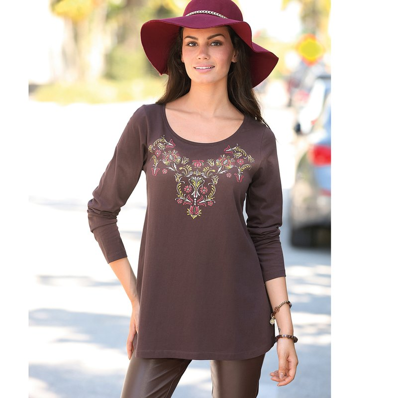 Camiseta mujer línea evasé de algodón estampado