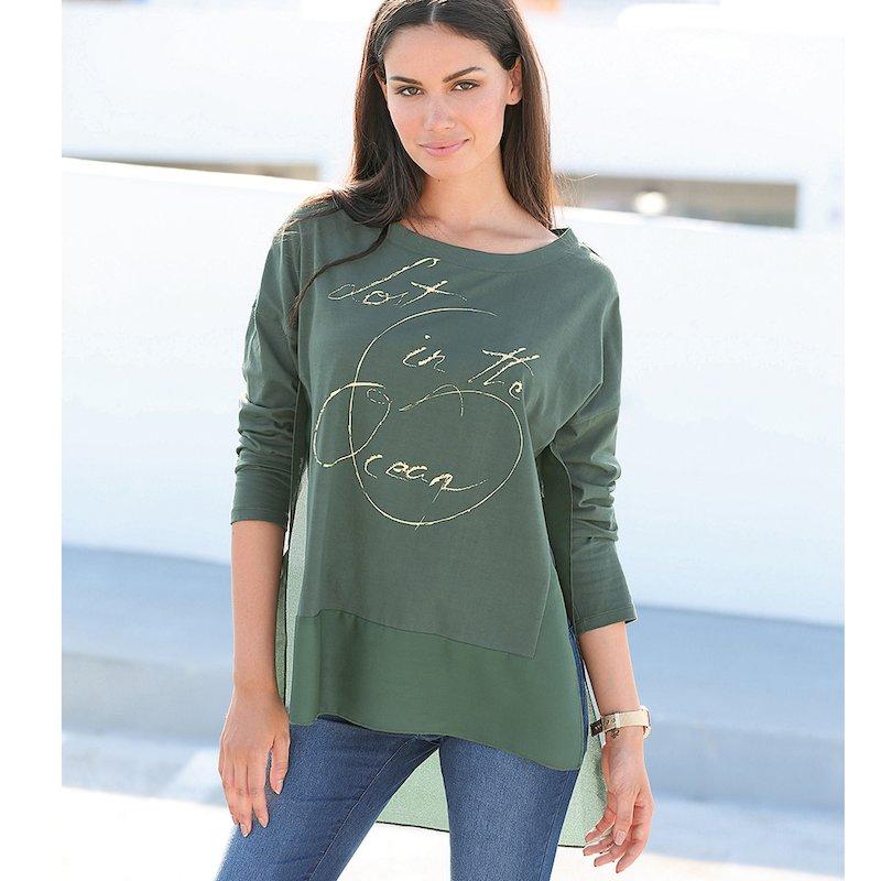 Camiseta larga mujer estampada elegante efecto doble