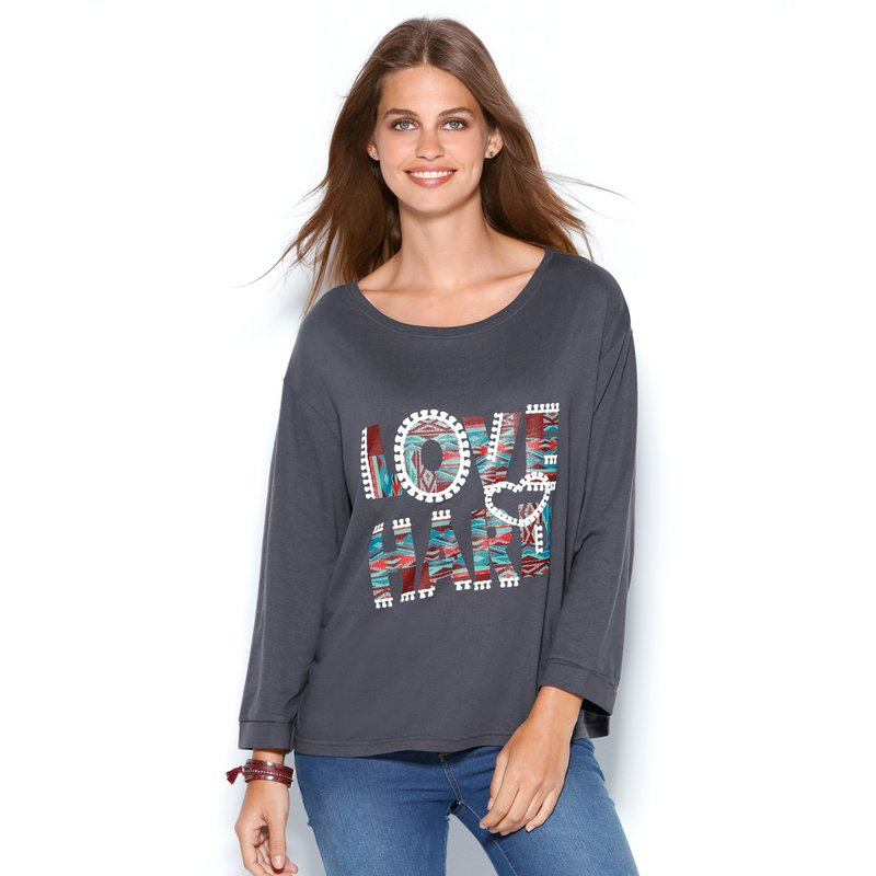Camiseta mujer manga larga con estampado LOVE HARD