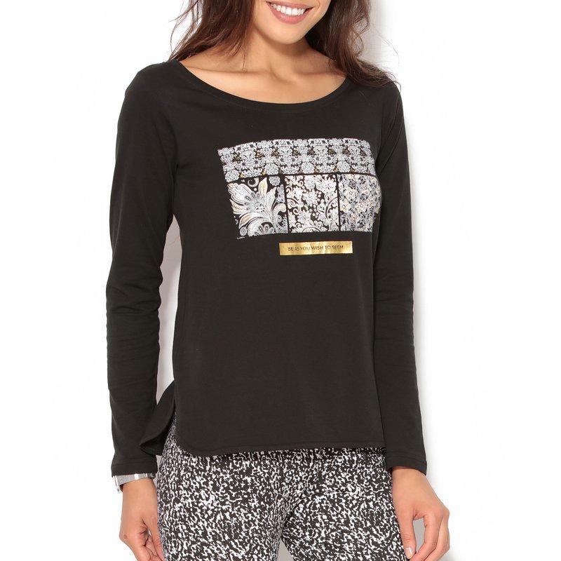 Camiseta mujer manga larga algodón bajo redondeado